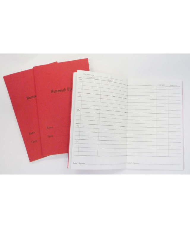 Pupil Timetable & Homework Diary 80 Page Red