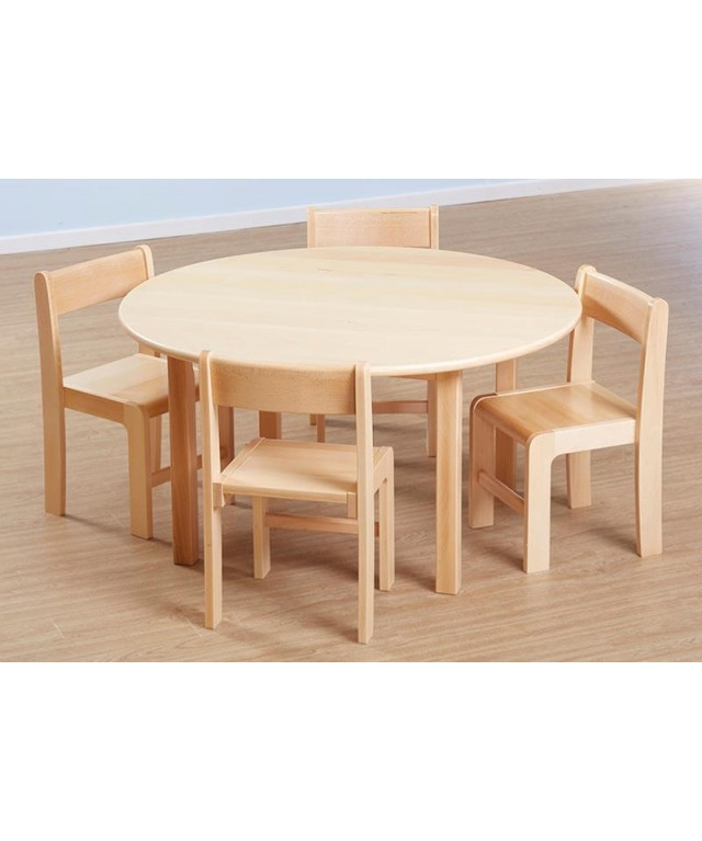 Solid Beech Circular Table H460mm and Chairs Set