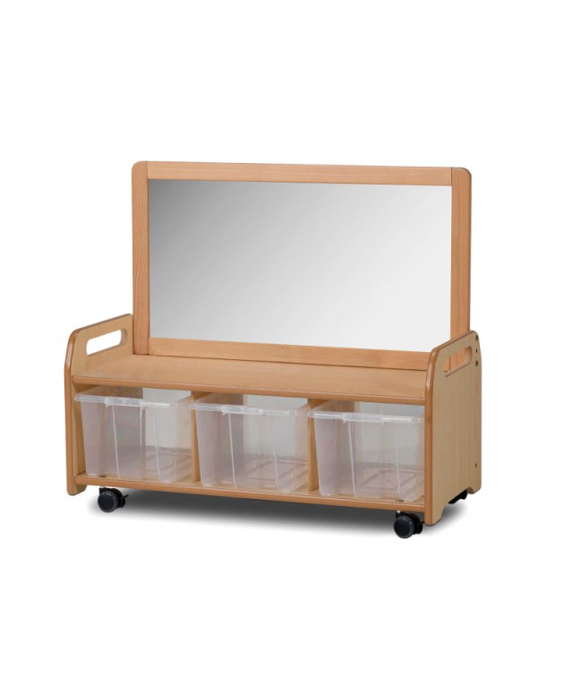 Mobile Mirror Storage Unit with 3 Clear Tubs
