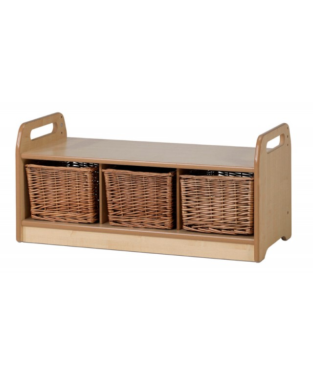Low Level Storage Bench with 3 Baskets