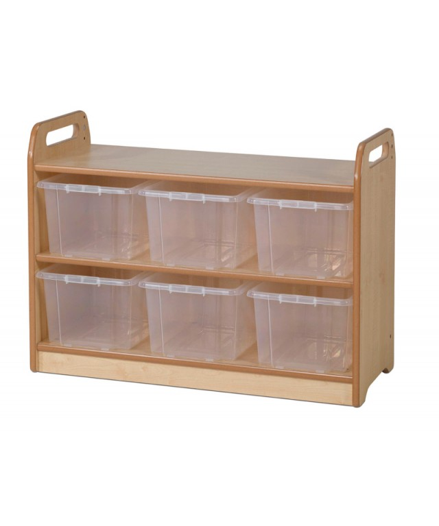 Tall Unit with Display and Mirror Back with 6 Clear Tubs