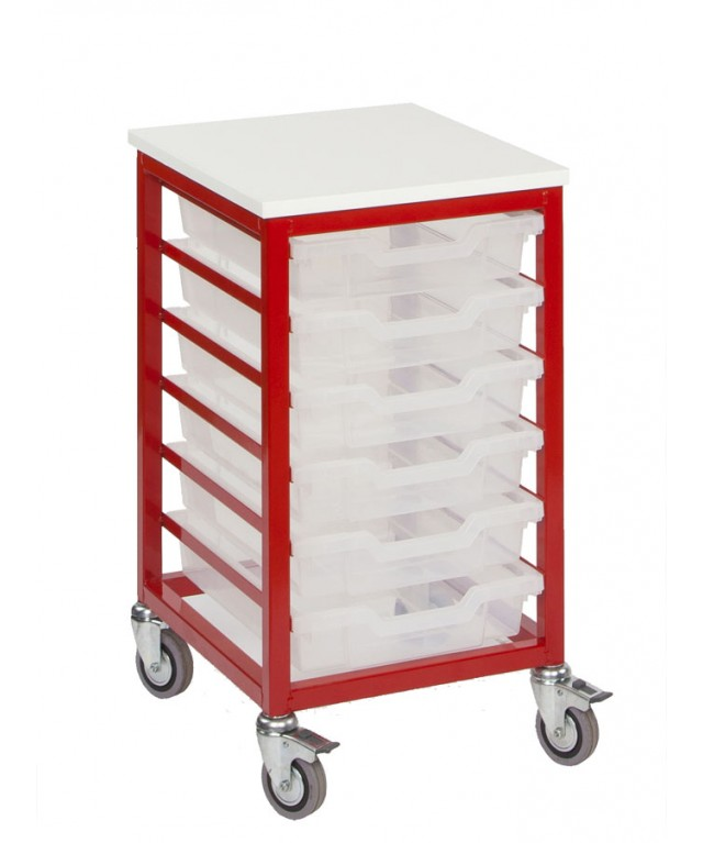6 Tray Mobile Metal Stackers