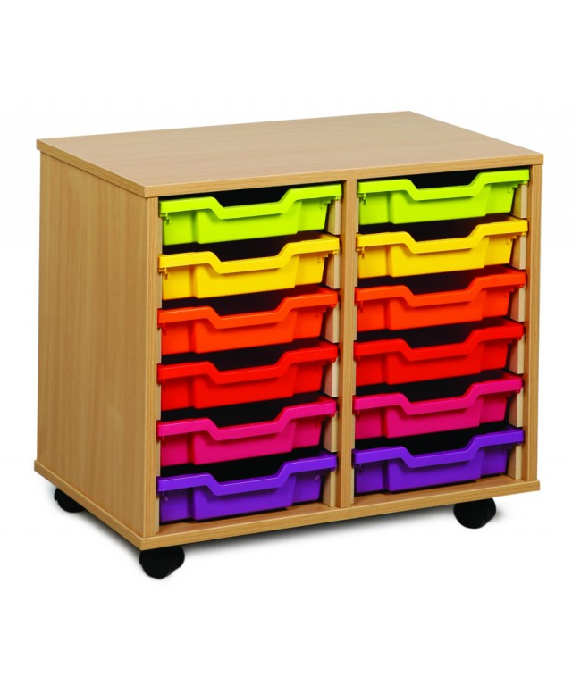 12 Tray Beech Wooden Storage Without Doors