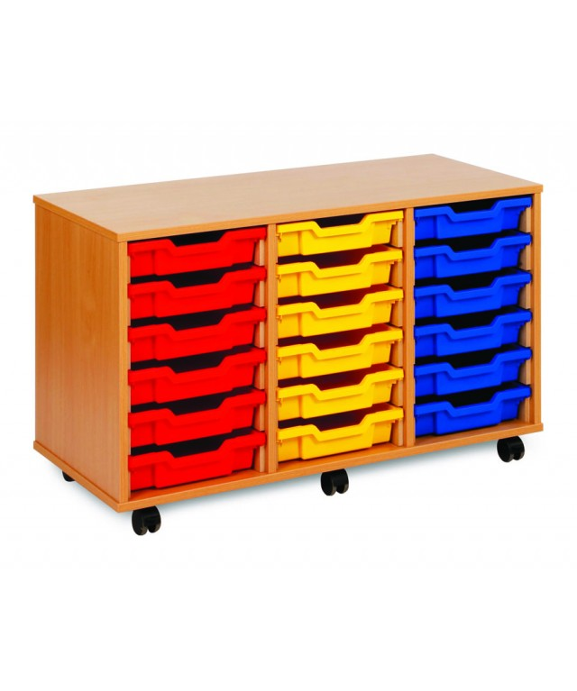 18 Tray Beech Wooden Storage Without Doors
