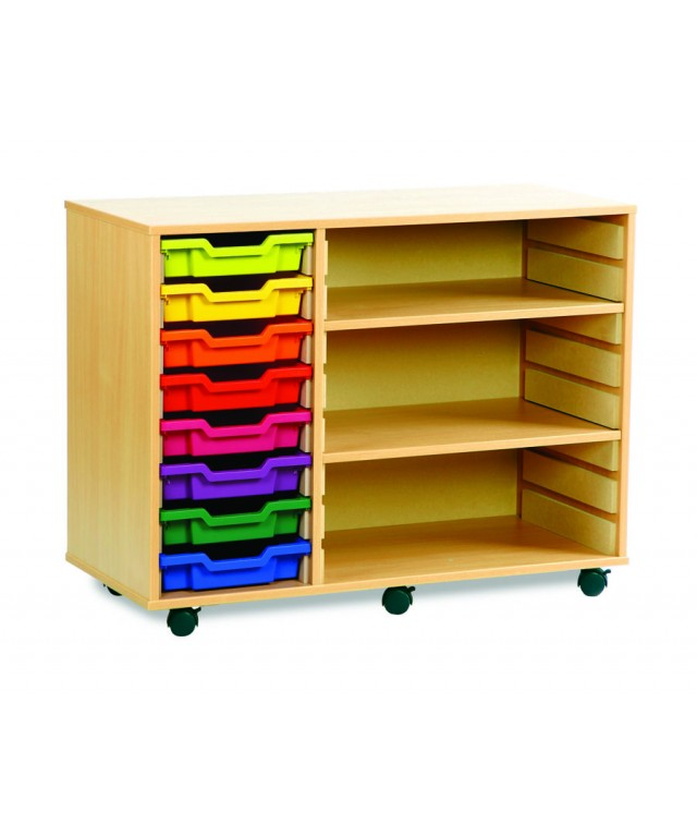 8 Tray Beech Storage Unit With 2 Shelves