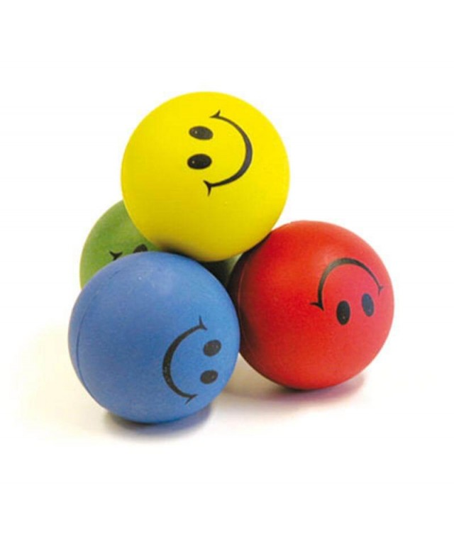 Rubber Sponge Happy Faces Ball 6cm Set of 12