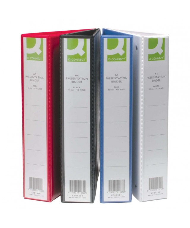 A4 Presentation 4 Ring Binders 65mm White